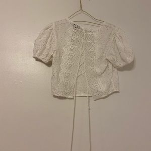 Lace White crop top Tie Corset Puffy Sleeve Short